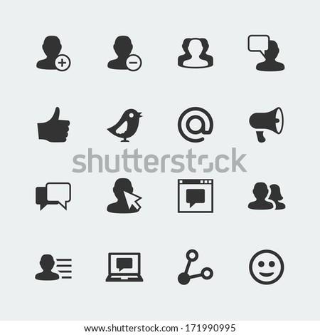 Vector social network mini icons set - stock vector