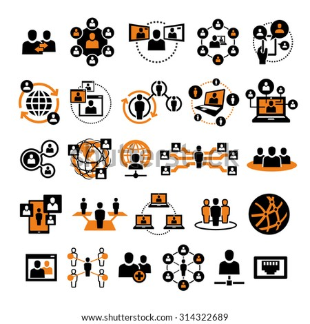 Vector Social People Network Icons  - stock vector