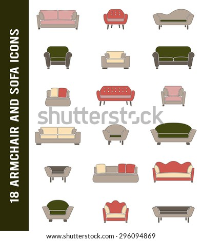 Vector sofa and armchair icons in retro colors isolated. Interior elements  collection. Furniture shapes