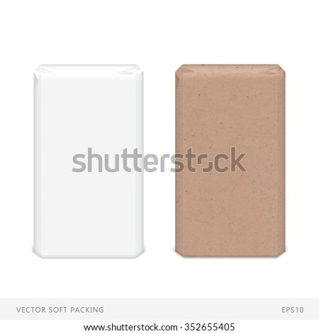 Vector soft packing. Two templates in paper and craft-paper variants. Perfect for  demonstrating packing of flour, sugar, salt, cereals and other bulk products. Easy editing. - stock vector