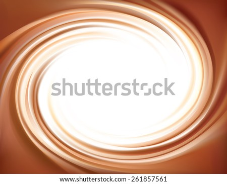 Vector soft wonderful mixed dark beige curvy swirling backdrop. Beautiful delicious fluid choco creamy surface with space for text in white center    - stock vector