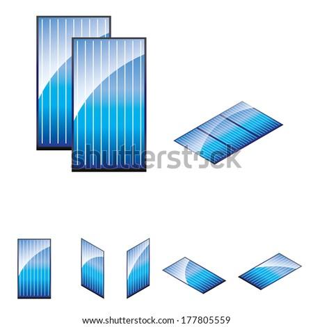 vector solar panels set - stock vector