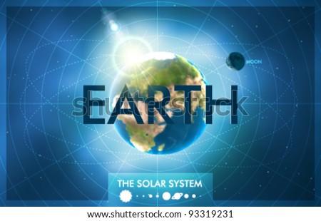 Vector Solar System - Planet Earth - stock vector