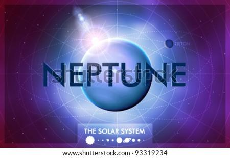 Vector Solar System - Planet Neptune - stock vector