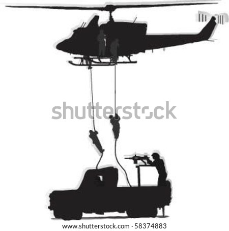 Vector Soldiers jump from a helicopter, and as a soldier shooting from military vehicles on the move. - stock vector