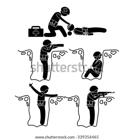Vector soldiers people sniping Stick Figure Pictogram Icons - stock vector
