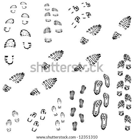 Vector sole prints - stock vector