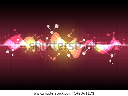 vector sound wave technology, electromagnetic background - stock vector