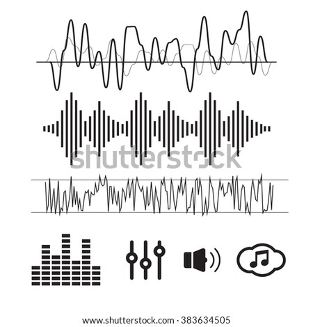 Vector Sound Waveforms. Sound waves and musical icons - stock vector