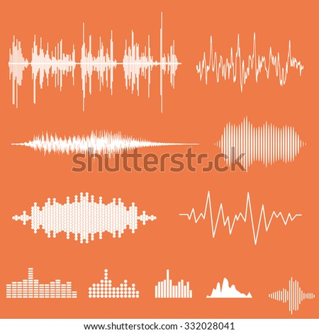Vector Sound Waveforms. Sound waves and musical pulse - stock vector