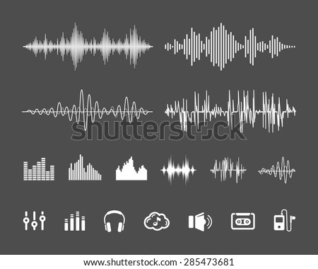 Vector Sound Waveforms. Sound waves and musical pulse icons - stock vector