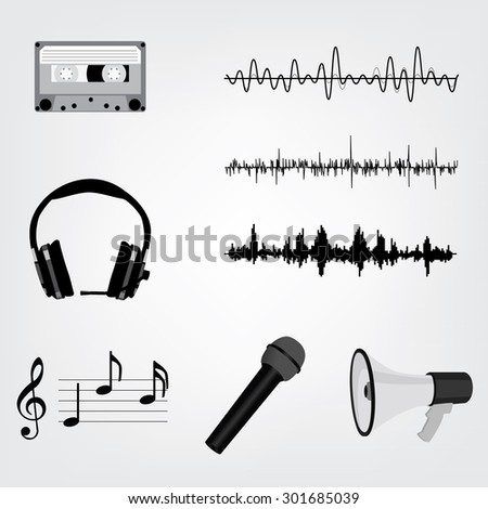 Vector Sound Waveforms. Sound waves and musical pulse icons. Cassette tape, microphone, loudspeaker, musical notes and headphone - stock vector