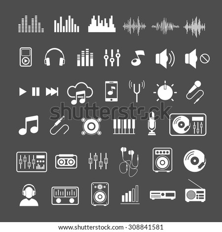 Vector Sound waves, musical pulse and devices icons - stock vector