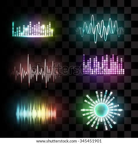 Vector sound waves set on transparent background. Audio equalizer technology, pulse musical. Vector illustration. - stock vector