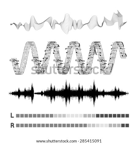 Vector sound waves set on white background - stock vector