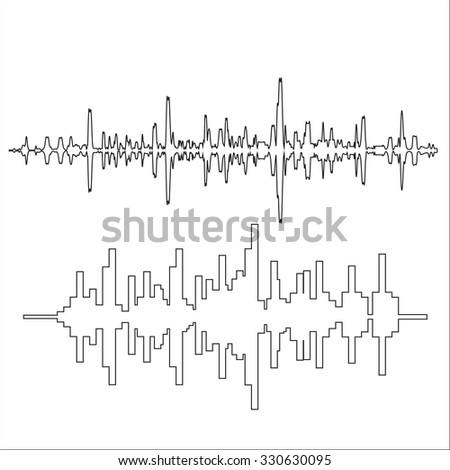 Vector sound waves thin lines - stock vector