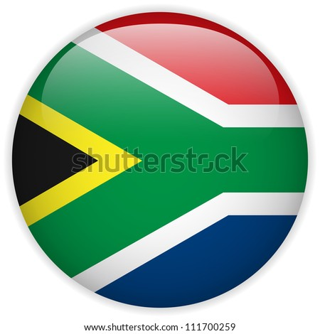 Vector - South Africa Flag Glossy Button - stock vector