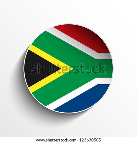 Vector - South Africa Flag Paper Circle Shadow Button