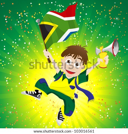 Vector - South Africa Sport Fan with Flag and Horn