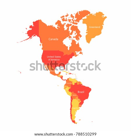 vector south america and north america map with countries borders abstract red and yellow american