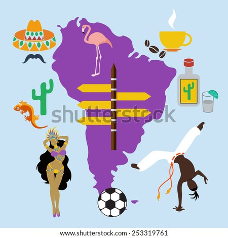 Vector south america latin america set cultural travel. Flat color eps10 - stock vector