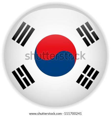 Vector - South Korea Flag Glossy Button - stock vector
