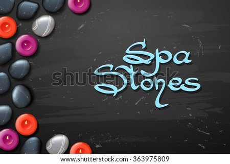 vector spa background with stone spa with candle - stock vector