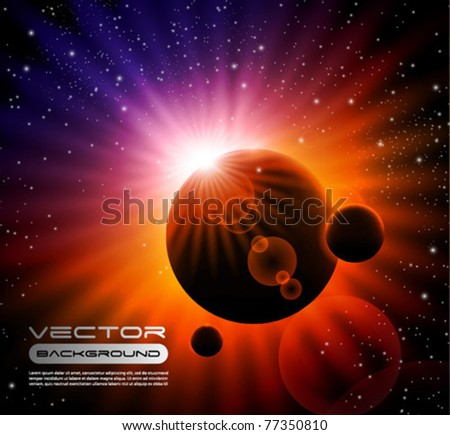 vector space background - sun rising over a planet - stock vector