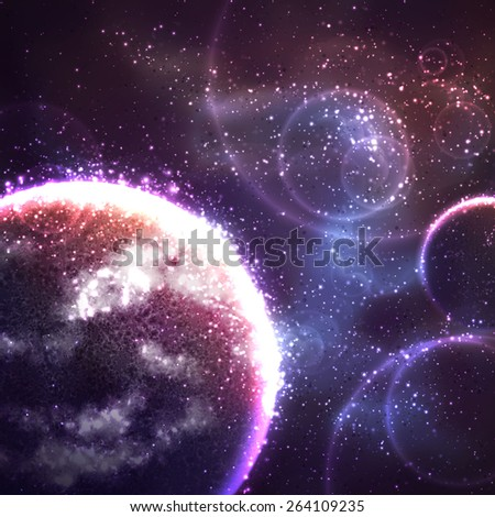 Vector space background with far unknown planet. - stock vector