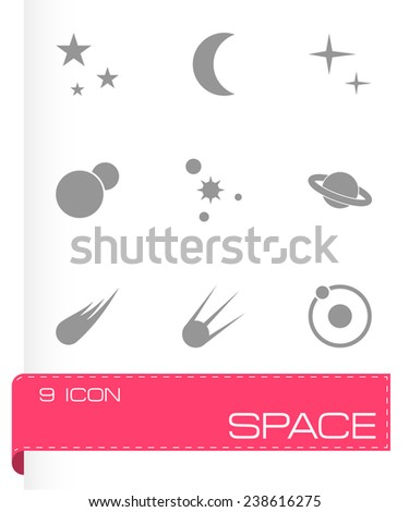 Vector space icon set on grey background - stock vector