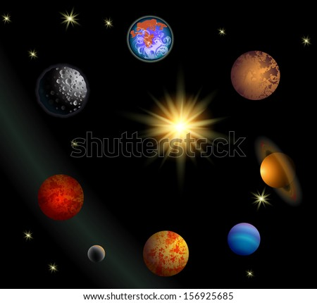 vector space illustration with planets and stars - stock vector