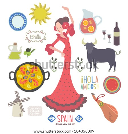 Spanish Culture Symbols Vector spain food and culture