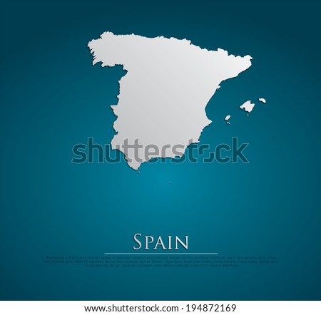 vector Spain Map card paper on blue background, high detailed