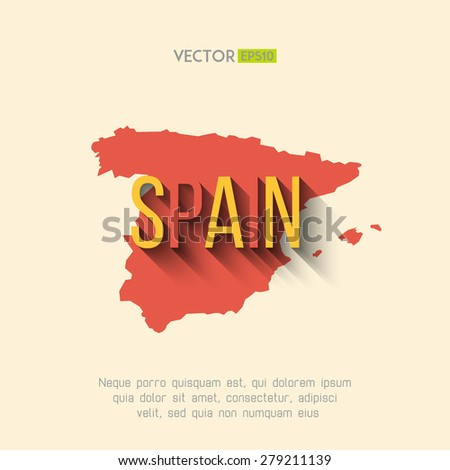 Vector spain map in flat design. Spanish border and country name with long shadow. - stock vector