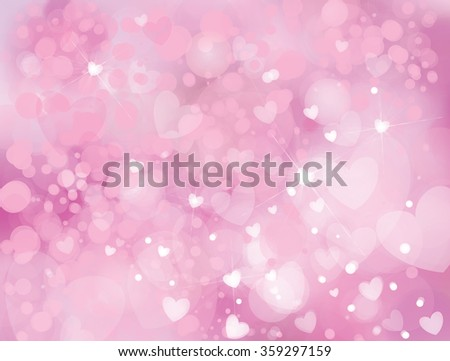 Vector sparkle, pink background with hearts, lights and stars. - stock vector