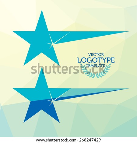 Vector Sparkling Star Turquoise Logotype - stock vector