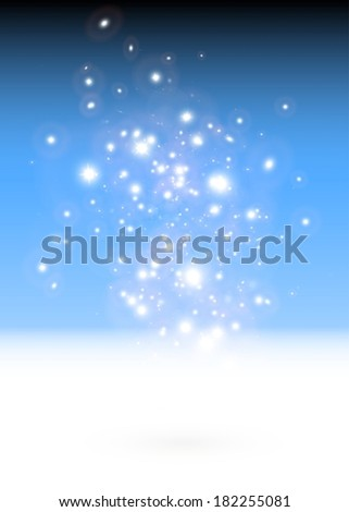 Vector sparks falling space background illustration  - Vector sparkling lights background template - stock vector