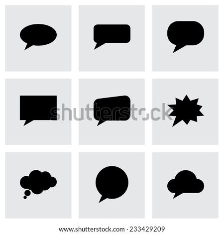 Vector speach bubbles icon set on grey background - stock vector
