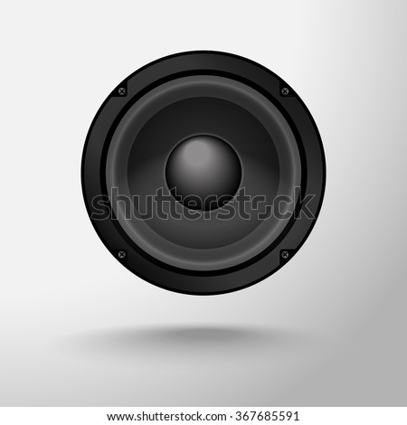 Vector speaker with shadow on a gray background