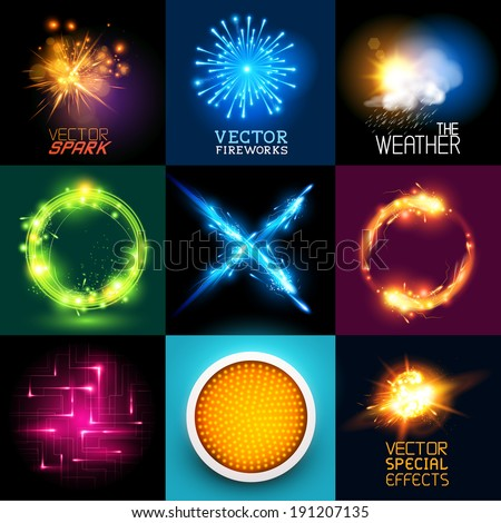 Vector special effects Collection. Set of various light effects and symbols, vector illustration. - stock vector