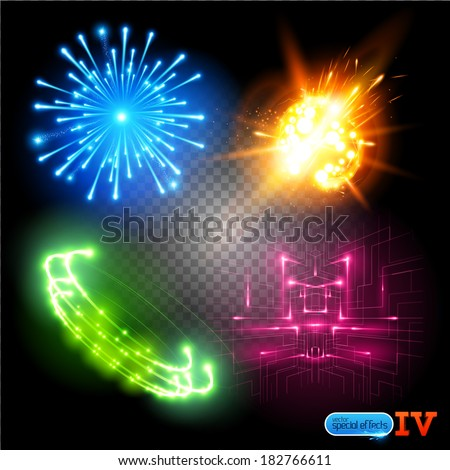 Vector Special Effects Series 4. Each object grouped and layered. - stock vector