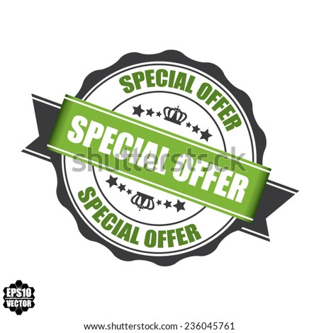 Vector: Special Offer Stamp, Label, And Sticker With Green Color, Stars And Crown Isolated On White Background.