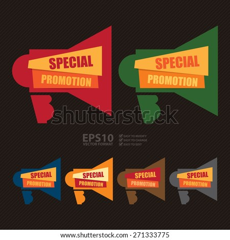 Vector : Special Promotion Megaphone Banner, Sign, Label or Icon  - stock vector