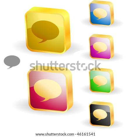 Vector speech bubble. Button set. - stock vector