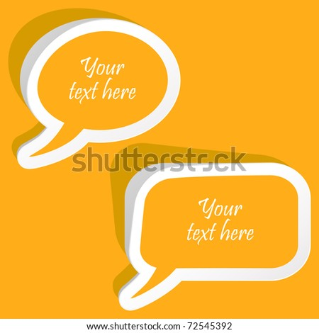 Vector speech bubble for dialogue. Orange icons - stock vector