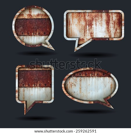 Vector speech bubble icons, With grunge chipped paint rusty textured metal background  - stock vector