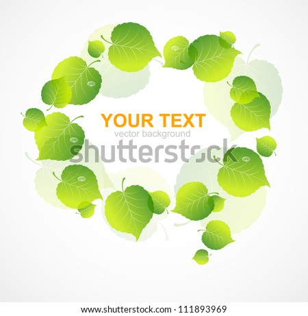 Vector speech bubble with colorful leaf
