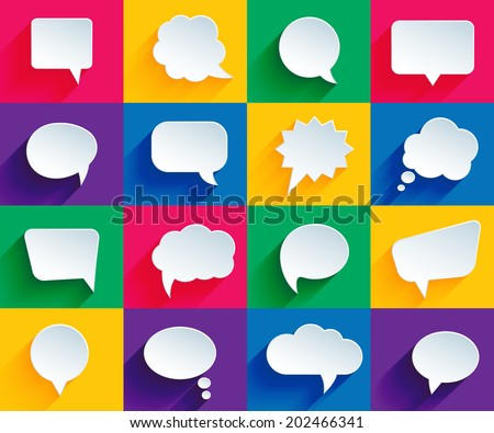 vector speech bubbles in flat design with shadows - stock vector