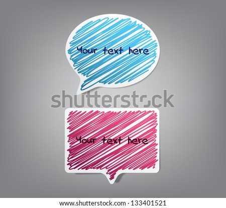Vector speech bubbles paper stickers with scribble design background, hand drawn frames. For websites or business design - stock vector