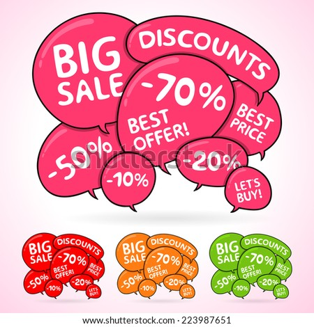 Vector speech bubbles set. Background with stickers on sale. Design elements for web, share and trade. Modern hand-drawn bubbles and text. Different colors. Cloud of dialogs.